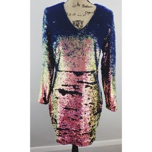 J.O.A. blue & pink sequin v-neck dress size Med
